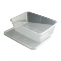650ml Microwave Clear Plastic Conts + Lids x250